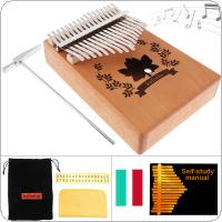 17 Key Kalimba Mahogany Thumb Piano with Maple Leaf Sound Hole Mbira Natural Mini Keyboard Instrument
