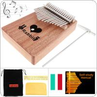 17 Key Kalimba Solid Mahogany Thumb Piano with Heart Sound Hole Mbira Natural Mini Keyboard Instrument