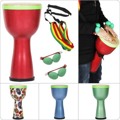8 Inch African Drum ABS Material Lightweight Design Djembe Drum with Shaker Eggs and Shoulder Strap