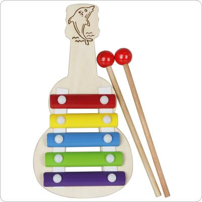 Rainbow 5 Tone Knock Piano Xylophone Wood Aluminum Plate Piano Orff Kids Early Educational Music Instrument Toy