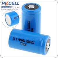 PKCELL 2pcs ICR 18350 900mAh 3.7V  Li-ion Rechargeable Battery with 1000 Cycles for Mechanical Electronic Smoke / Flashlight