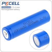 Pkcell ICR18650 3000mAh 3.7V Li-ion High Capacity Rechargeable Battery with Over-current Protection for Portable Printers / Flashlights / Headlamps
