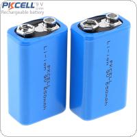 Pkcell 2pcs 9V 6F22 650mAh Li-ion Rechargeable Battery for Multimeter / Wireless Microphone / Alarm