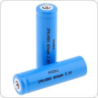 Pkcell 2pcs IFR 3.2V 14500 600mAh Li-ion Rechargeable Battery with Safety Relief Valve for Flashlights / Headlamps