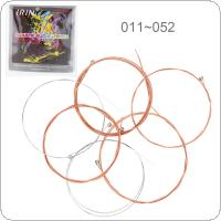 6pcs/set Acoustic Flok Guitar String 011-052 Inch Steel Core Phosphor Bronze Color Alloy with Nickel-Plated Ball-End
