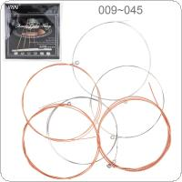 6pcs/set Acoustic Flok Guitar String 009-045 Inch Steel Core Phosphor Bronze Color Alloy with Proprietary Anti-Rust Coat