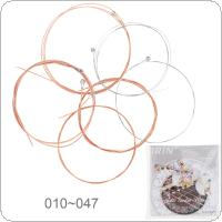 6pcs/set Acoustic Flok Guitar String 010-047 Inch Steel Core Phosphor Bronze Color Alloy with Proprietary Anti-Rust Coat