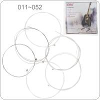 6pcs/set Acoustic Flok Guitar String 011-052 Inch Steel Core Silver-Plated Copper Alloy with Nickel-Plated Ball-End