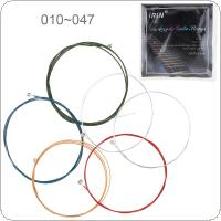 6pcs/set Acoustic Flok Guitar String 010-047 Inch Steel Core Colourful Coated Copper Alloy with Nickel-Plated Ball-End