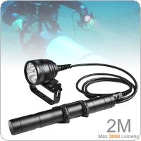 Underwater High Power 150m 3000lm Magnetic Switch 3x XM-L2 LED Diving Flashlight Torch with 2 M Line Length for Professional Diving / Photographic Supplement