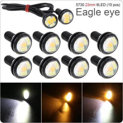 10 Pcs 23mm Eagle Eye 6 LED High Power 5730 Dual Color 12V Car Fog DRL Bulb Reverse Backup Parking Signal Lamp
