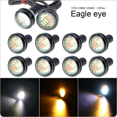 10 Pcs 23mm Eagle Eye 12 LED High Power 4014 Dual Color 12V Car Fog DRL Bulb Reverse Backup Parking Signal Lamp