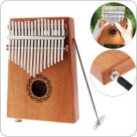 17 Key Electroacoustic Kalimba Single Board Mahogany Thumb Piano Mbira Mini Keyboard Instrument with Complete Accessories
