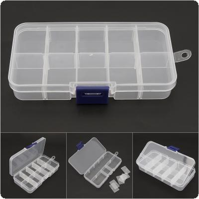 10 Compartment Small Plastic Box Organiser Storage Clear Jewelry Box with Adjustable Dividers for Earring Nail Transparent