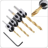 4pcs/set HSS Titanium Plated 3-6mm Round Handle Woodworking Chamfer Drill Bits with 5 Flute and 3 Point Head for Bench Drill / Electric Hand Drill