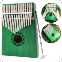 17 Key Green Kalimba Single Board Mahogany Thumb Piano Mbira Mini Keyboard Instrument with Complete Accessories