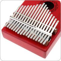 17 Key Red Kalimba Single Board Mahogany Thumb Piano Mbira Mini Keyboard Instrument with Complete Accessories