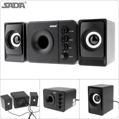 SADA D-205 Portable USB2.0 Subwoofer Computer Speaker with 3.5mm Audio Plug and USB Power Plug for Desktop PC / Laptop / MP3 / Cellphone / MP4