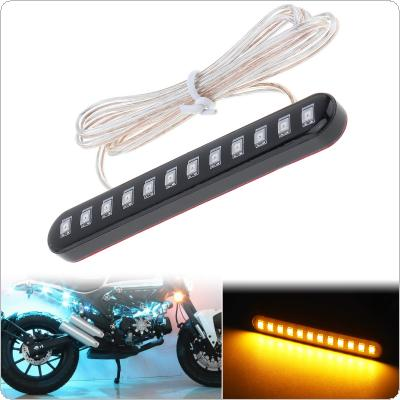 1pcs 12V 6W 3000K Waterproof Motorcycle Turn Signal 12 LED Light Indicator Flexible Motorbike Streamer License Plate Lamp