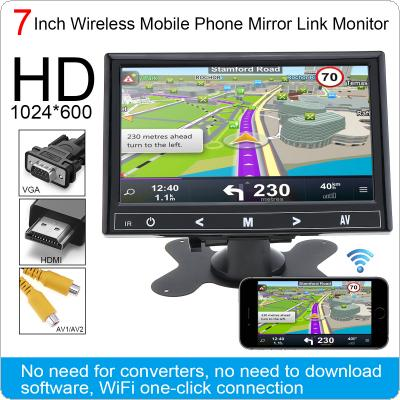 7 Inch HD IPS 1024*600 TFT LCD Color Multifunction Car Headrest Monitor support HDMI / VGA / AV / Wireless Mobile Phone Mirror Link