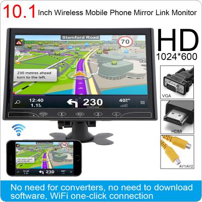 10.1 Inch  HD IPS 1024*600 TFT LCD Color Multifunction Car Headrest Monitor support HDMI / VGA / AV / Wireless Mobile Phone Mirror Link
