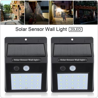 2pcs 20 LED Solar Light Motion Sensor Wall Lamp Outdoor Waterproof Courtyard Light with Energy Saving and Environmental Protection for Garden / Fence / Patio