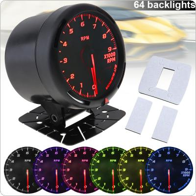 60MM 12V 9 x 1000 RAM 64 Backlights LED Electrical Car Tacho Gauge Meter Tachometer with Speed Sensor