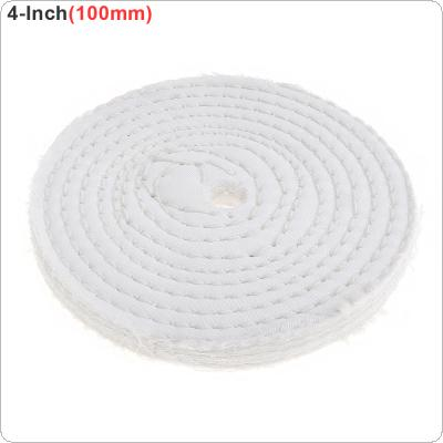 4 Inch T-shaped White Cotton Cloth Polishing Wheel Mirror Polishing Buffer Cotton Pad with 10mm Hole for Metal Polishing / Car Polishing