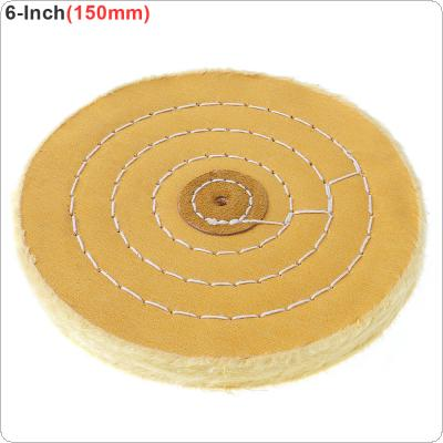 6 Inch T-shaped Yellow Cotton Cloth Polishing Wheel Flannel Mirror Polishing Buffer Cotton Pad with 5mm Hole for Metal Polishing / Car Polishing