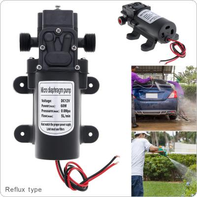 12V 60W 5L/min Adjustable Return Type Self-suction DC  Mini Diaphragm High Pressure Electric Car Wash Pump for Car / Home / Garden