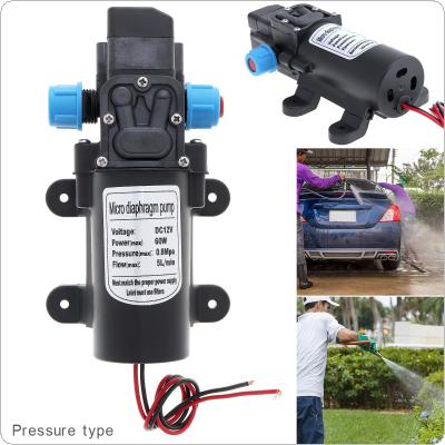 12V 60W 5L/min Self-suction DC Mini Diaphragm High Pressure Electric Car Wash Pump with Blue Nut for Car / Home / Garden