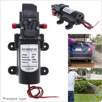 12V 80W 5.5L/min Self-suction DC Mini Diaphragm High Pressure Electric Car Wash Pump with  Red Dust Cap for Car / Home / Garden