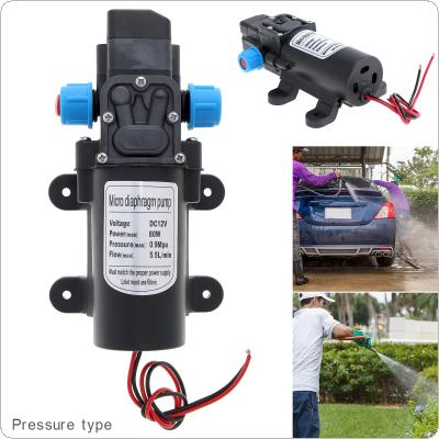 12V 80W 5.5L/min Self-suction DC Mini Diaphragm High Pressure Electric Car Wash Pump with Blue Nut for Car / Home / Garden