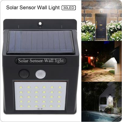 Outdoor Waterproof 30 LED Solar Sensor Wall Light with Light Sensation for Garden / Yard / Driveway