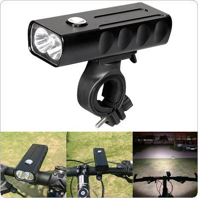 Waterproof Rechargeable USB 1000LM 2 LED Bicycle Lamp with 360 Degree Rotation Bracket Support 3 Modes Light for Bike Front Headlight Cycling Bicycle
