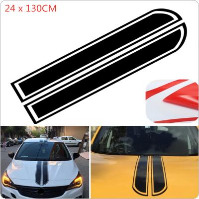 2 Colors 130 x 24 CM PVC Material Stripe Pattern Creative Refit Car Sticker for Cars Hood