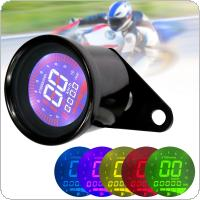 12V Universal Multi-function Black Display Oil Level Meter LCD Gauge Tachometer Motorcycle Digital Speedometer