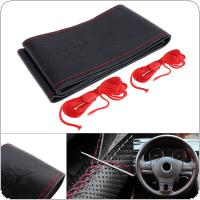 M 38CM Universal Leather DIY Hand Stitched Embossing Pattern Breathable Anti Slip Car Styling Steering Wheel Cover with Needle and Thread Fit