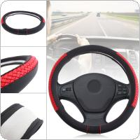 M 38CM Universal Leather Red Woven Breathable Anti Slip Car Styling Steering Wheel Cover