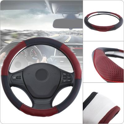 38CM Universal Leather Fashion Splicing Color Breathable Anti Slip Car Styling Steering Wheel Cover with Massage Protruding