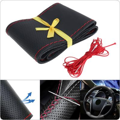 M 38CM Universal Leather DIY Hand Stitched  Breathable Anti Slip Car Styling Steering Wheel Cover with Needle and Thread Fit