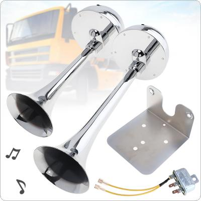 12V / 24V 126DB Super Loud  Powerful Dual Trumpet All Metal Tracheal Electric Air Horn with Bracket / Relay No Need Compressor