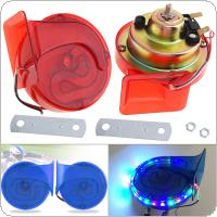2pcs 12V Copper Coll 110DB Electric Noisy Level Snail Horn with Article Lamp for Motorcycle Vehicle Car Truck Boat Truck