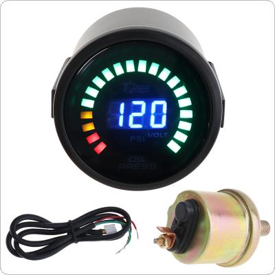 "2"" 52MM  12V 0~120PSI Colorful LED Digital  Oil Press Pressure PSI Gauge with Oil Pressure Sensor"