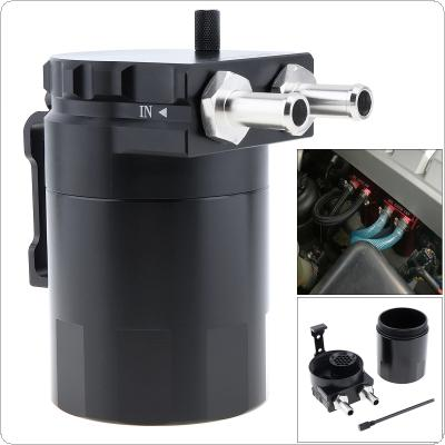 Universal Black Aluminum Baffled Oil Catch Can Oil Filter Tank Round  Reservoir Breather with  Fittings and Oil Dipstick