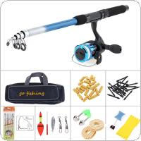 1.8m Fishing Rod Reel Line Combo Full Kits Spinning Reel Pole Set with Fishing Bag Carp Lures Fishing Float Hook Swivel Etc Tool Set