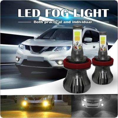 Dual Color in 1 160W H8 H9 H11 LED Fog Light Bulbs 3000K Yellow + 6000K White Colors Strobe Lamp Bulb COB Bulb Kit