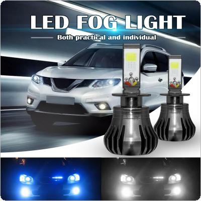 Dual Color in 1 160W H3 LED Fog Light Bulbs 6000K White + 8000K Ice Blue Colors Strobe Lamp Bulb COB Bulb Kit