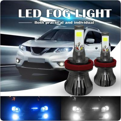 Dual Color in 1 160W H8 H9 H11 LED Fog Light Bulbs 6000K White + 8000K Ice Blue Colors Strobe Lamp Bulb COB Bulb Kit