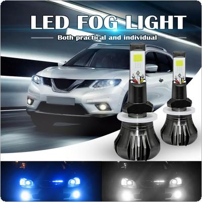 Dual Color in 1 160W 880 881 LED Fog Light Bulbs 6000K White + 8000K Ice Blue Colors Strobe Lamp Bulb COB Bulb Kit